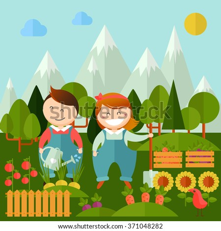 Vector set of pictures gardener family, garden,  landscape with gardening concept. Garden set icons and landscape with a vegetable garden, various plants, trees in flat style for your design - stock vector
