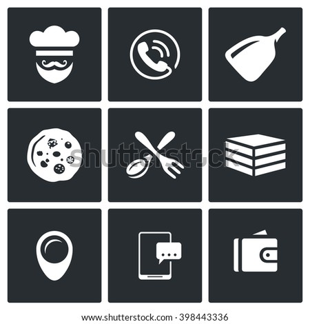 Vector Set of Pizza Delivery Icons. Cook, Order Manager, Shoulder baker, Pizza, Cutlery, Box Food, Address, Booking, Payment. Preparation of food order and delivery to the consumer. - stock vector