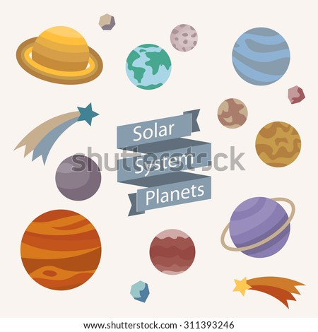 Vector set of planets icons. Solar system with planets, asteroids, meteors, comets in flat style. Astronomic background. - stock vector