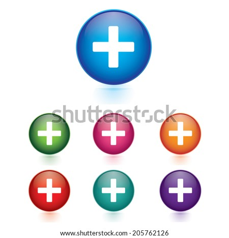 Vector - Set of plus icons - stock vector