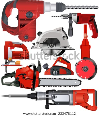 vector set of power tools  - stock vector
