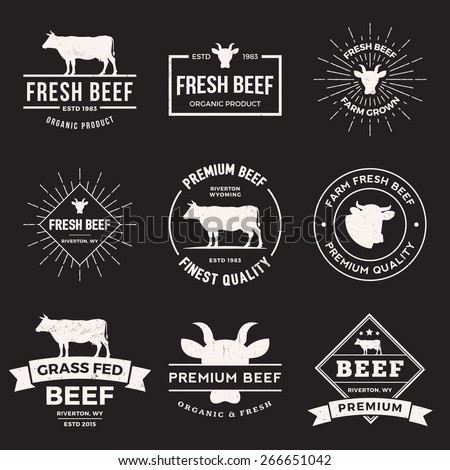 vector set of premium beef labels, badges and design elements  with grunge textures. - stock vector