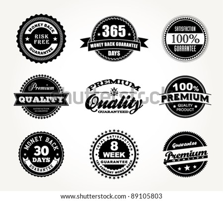 vector set of Premium Quality, Money Back & Satisfaction Guarantee - stock vector