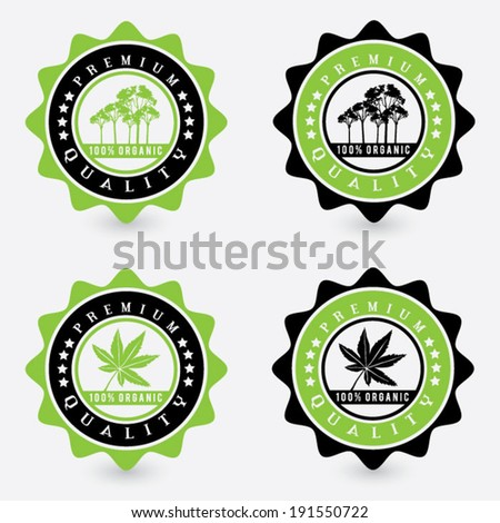 vector set of premium quality organic natural product stickers and stamps