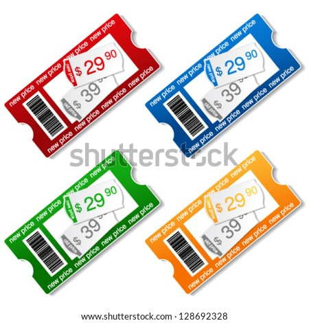 Vector set of price-tag for discount