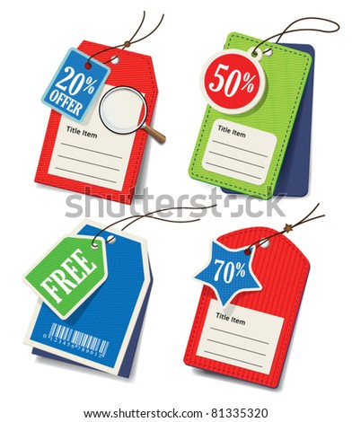 vector set of price tags - stock vector