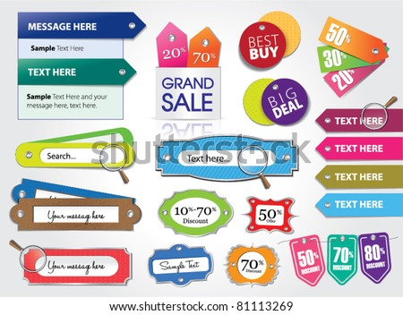 vector set of price tags & web elements - stock vector