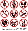 vector set of prohibition signs - stock vector