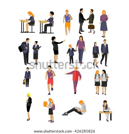 Vector set of pupils and teachers in school isolated on white background. School and college icons and design elements. - stock vector