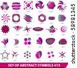 Vector set of purple abstract symbols - stock vector