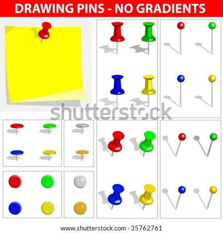 Vector set of push pins isolated on white background. No gradients or effects are used. - stock vector