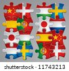 Vector set of puzzle flag icons 2 - stock vector