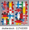 Vector set of puzzle flag icons 1 - stock photo