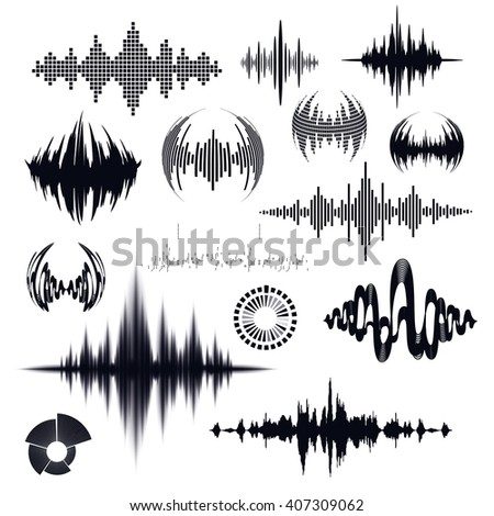 vector set of radio signal. musical wave chart - stock vector