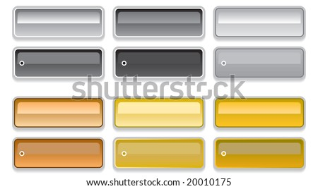 Vector set of rainbow color web 2.0 style shiny metallic glass buttons with on / off states - stock vector