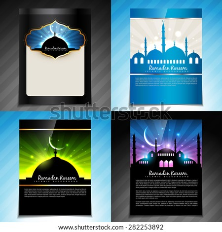 vector set of ramadan kareem festival of muslim brochure  and template design - stock vector