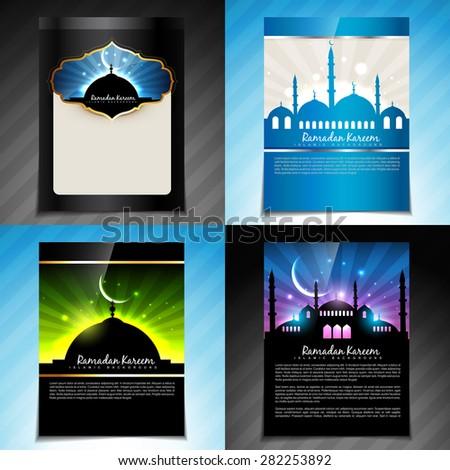 vector set of ramadan kareem festival of muslim brochure  and template design - stock vector