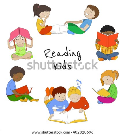 Vector set of reading kids. Collection of children with books. Education or leisure concept. - stock vector