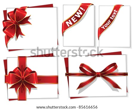 Vector set of red gift bows with ribbons - stock vector