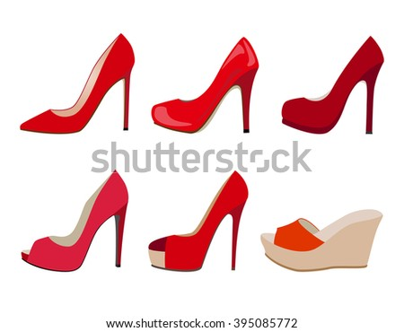 vector set of red realistic women shoes