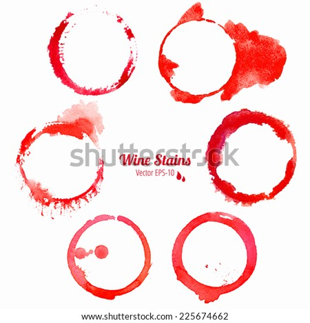 vector set of 6 red round grunge watercolor wine stains isolated on white background