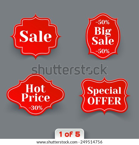 Vector Set of Red Sale Retro Labels. Vintage Paper Banners Collection - stock vector