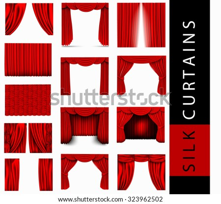 vector set of red silk curtains with light and shadows of the open and closed, Pelmet - stock vector