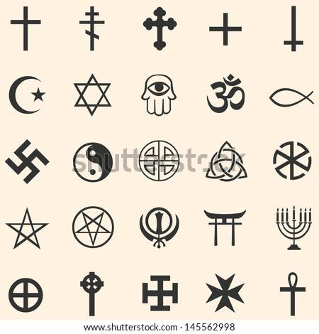 Vector Set Religious Symbols Stock Vector 145562998 Shutterstock