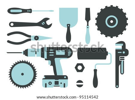Vector set of repairing tools simple style 2 colors - stock vector