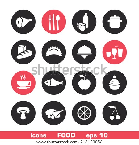 Vector set of restaurant icons and food - signs on circles. Can be used in web and print
