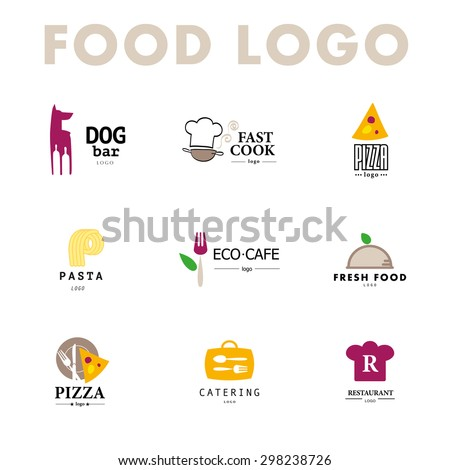 Vector set of restaurant logo design templates. Eco food, drink menu, fast food, sushi, pizza icon, fish and sea food company insignia. Coffee and tea icon. Dish elements icon design. - stock vector