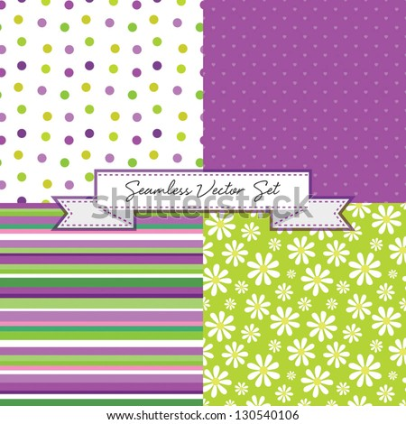 Vector set of 4 retro background patterns in purple and green. Good for Baby Shower, Birthday, Mother's Day, Father's Day, Christmas, Scrapbook, Greeting Cards, Gift Wrap, surface textures. - stock vector