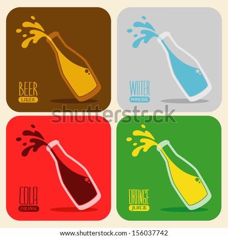 Vector set of retro drinks - splash beer, water, cola, orange juice in a glass bottle - stock vector