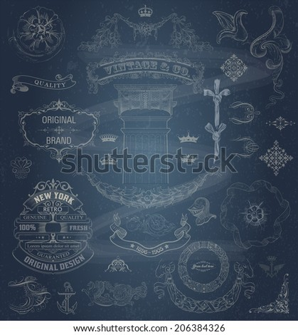 Vector. Set of retro elements: baroque frames, banners, retro labels, classic column. Chalk style - stock vector