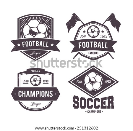 Vector set of retro football emblems. - stock vector