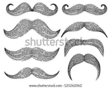 Vector set of 8 retro mustaches silhouette with newspaper columns texture. All texts are unreadable.
