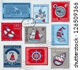 Vector Set of Retro SEA POST Stamps - High Quality -  for design and scrapbook - stock vector