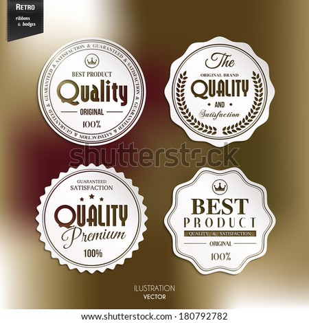 Vector set of retro stamp, sticker, tag, label, badge on color background. - stock vector
