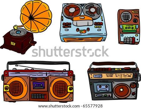 vector - set of retro tape players and gramophone - stock vector