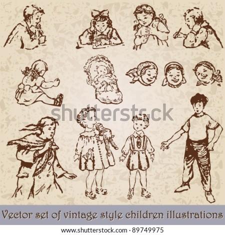 Vector set of retro, vintage children illustration - stock vector