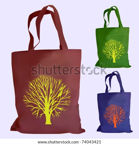 vector set of reusable shopping bags - stock vector