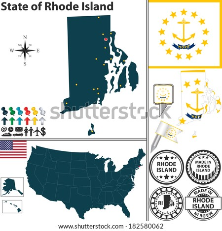 Vector set of Rhode Island state with flag and icons on white background