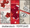 vector set of rich floral cards in a vintage style - stock vector