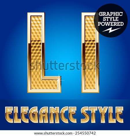 Vector set of rich shining alphabet with golden border. Letter L - stock vector