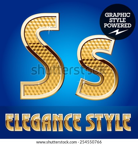 Vector set of rich shining alphabet with golden border. Letter S - stock vector