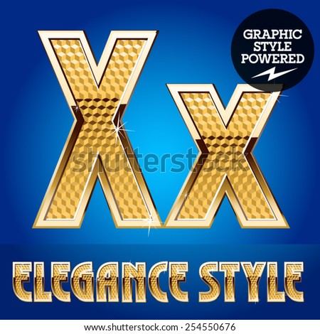 Vector set of rich shining alphabet with golden border. Letter X - stock vector