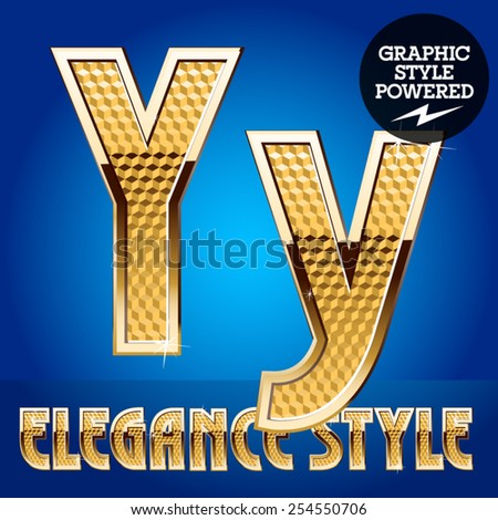 Vector set of rich shining alphabet with golden border. Letter Y - stock vector