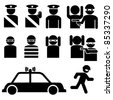 Vector set of robber and police officer stick figures illustrations - stock vector