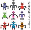 vector set of robots of various shapes and colors - stock photo