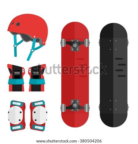 Vector set of roller skating and skateboarding protective gear. Skating protective gear icons. Flat skateboard illustration. Wrist guards, helmet, knee pads, elbow pads. Skateboard and protective. - stock vector